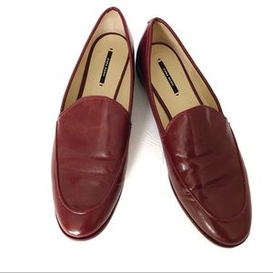 Zara Basics Red Leather Loafers